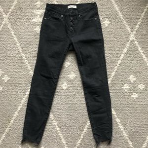 """Madewell Button Front 9"""" High Rise Washed Black"""